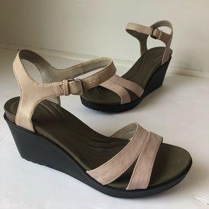 CROCS Wedge Neutral Sandals Brown Heel